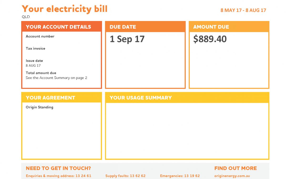 Origin electricity invoice BEFORE SOLAR